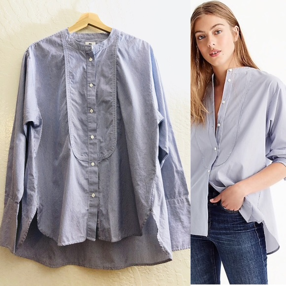 4a11cca9e92161 J. Crew Tops | Thomas Mason For J Crew Collarless Tuxedo Shirt 12 ...